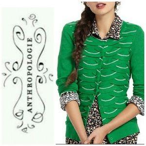 YELLOW BIRD (Anthro) green cardigan